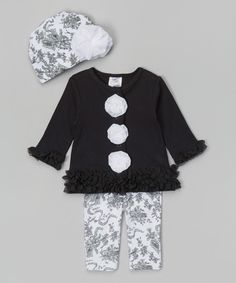 Love this Baby Essentials Black & White Tulle Ruffle Cardigan Set by  on #zulily! #zulilyfinds