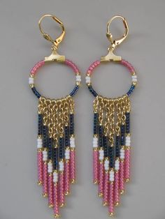 Seed Bead Chain Hoop Earrrings  Montana Blue/Opal by pattimacs, $18.50