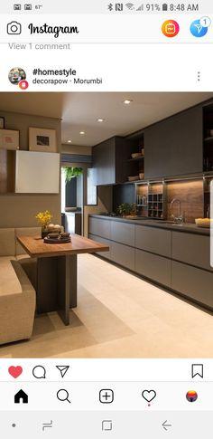 Open Plan Kitchen Living Room, Home Decor Kitchen, New Kitchen, Kitchen Dining, Kitchen Tiles, Kitchen Layout, Kitchen Breakfast Nooks, Kitchen Colour Schemes, Beautiful Kitchens