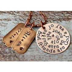 Best Friends Hand Stamped Personalized Necklace Friend Necklaces Jewelry