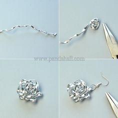 Wire Wrapped Rose Dangle Earrings
