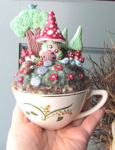 Sale 28.00 was 35.00 / Fairy Gnome House Garden in a Cup / Needle Felting / Polymer Clay Mushroom, Trees, Birds & Hedgehogs. $28.00, via Etsy.