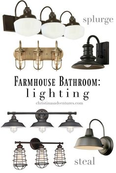 Bathroom Design Elements and Sources Farmhouse bathroom lighting for every budget - so many great sources!Farmhouse bathroom lighting for every budget - so many great sources! Farmhouse Bathroom Light, Rustic Bathroom Lighting, Rustic Bathroom Designs, Bathroom Light Fixtures, Farmhouse Lighting, Rustic Lighting, Kitchen Lighting, Lighting Ideas, Farmhouse Decor