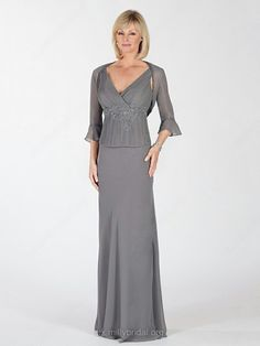 Sheath/Column V-neck Chiffon Beading Light Slate Gray Mother of the Bride Dresses in UK