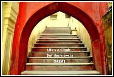 Painted in dynamic red, the opening to stairs give this place a rich energetic look...  Stairs Near City Palace Alwar