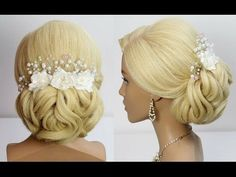 Wedding hairstyle for long medium hair tutorial. Bridal prom updo. - YouTube