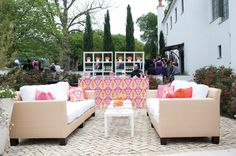 pink + orange lounge area | Cameron & Kelly Studio #wedding
