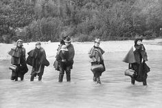 A group of actresses crosses the Dyea River in Alaska heading for one of the new boom towns. The larger settlements featured theaters that usually played to large male audiences hungry for entertainment. Gold Miners, Canadian History, Snowy Mountains, Women In History, Old West, History Facts, Pretty Face, Alaska, Fine Art America
