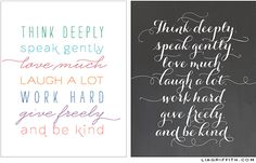 Framable Quote In Chalkboard & Mixed Type Designs Free Printable Quotes, Printable Designs, Printable Wall Art, Free Printables, Project Life, Easy Coloring Pages, Think Deeply, Wall Art Quotes, Quote Wall