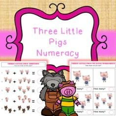3 Little Pigs Numeracy / Math Worksheet Bundle Add, Subtract, Multiply, CountNumeracy / Math worksheet bundle related to '3 little pigs'. No prep needed, just print and hand to pupils.* Addition worksheet (2 pages)* Color by number (3 pages)* Counting worksheet (15 pages)* Counting activity (21 pages)* Multiplication worksheet (2 pages)* Number on pics matching (8 pages)* Subtraction worksheet (2 pages)This product is included in my 3 Little Pigs bundle found here