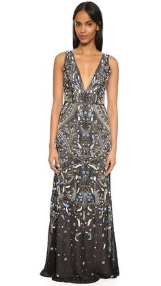 alice + olivia Marnee Embellished Gown | Embroidery, beads, and crystals give this silk-chiffon alice + olivia maxi dress a striking finish. Deep, double-V neckline. Exposed back zip. Lined. Fabric:Beaded silk chiffon. Shell:100% silk.