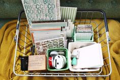 baskets for projects. (matting & framing, drawing, screenprinting, linocuts, photo prints) *photo and idea from A Beautiful Mess blog