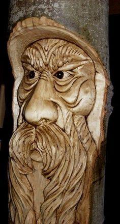 Wood spirit walking stick