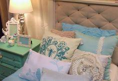Dear Alice Interiors July 2014. Buffalo,MN. #Upholsteredheadboard #tiffanyblue #girlsbedroom