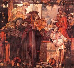 Skinners' Hall Panel by Sir Frank Brangwyn, The Granting of their Charter to the Skinners Company by Edward III on 1 March 1327, oil, 285x305cm, (The Worshipful Company of Skinners)