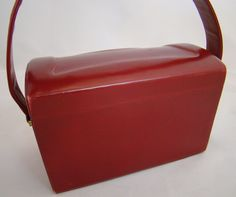 Vintage Red Leather CONCORD Box Bag/ 1950s. $58.00, via Etsy.