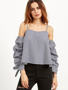 a2a0257160080d Navy Gingham Billow Sleeve Cold Shoulder Top Gingham Shirt