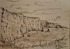 Buy The cliffs of Moher, Pencil drawing by Niki Purcell - Irish Landscape Painting on Artfinder. Irish Landscape, Cliffs Of Moher, Landscape Paintings, Landscapes, Drawing Reference, Pencil Drawings, Mount Rushmore, Sky, Wallpaper