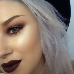Fall into Fall with this earth-tone makeup look. Get those lips with Ben Nye Lipstick in Wicked Plum. crcmakeup.com