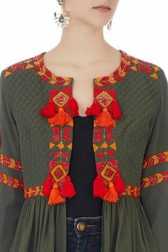 Buy Khaki green tassel front open jacket by Surily G at Aza Fashions - Pakistani dresses Kurti Embroidery Design, Hand Embroidery Dress, Embroidery Suits, Pakistani Dress Design, Pakistani Dresses, Kurta Designs, Blouse Designs, Moda Hippie, Mode Abaya