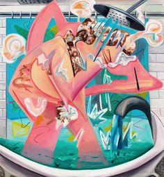 Dana Schutz (American, b. 1976), Slow Motion Shower, 2015. Oil on canvas, 78 x 72 in.