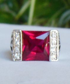 Silver-tone & Square Ruby Red Glass Clear Rhinestones Ring Size 5.75 #Unbranded