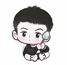 Exo Anime, Anime Chibi, Kyungsoo, Chanyeol, Exo Cartoon, Exo Fan Art, Kpop Exo, Cute Chibi, Kpop Fanart