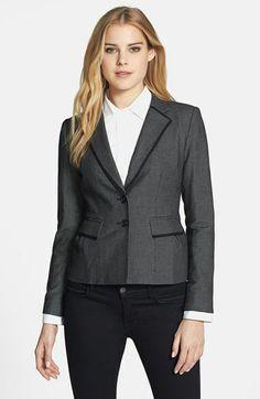 Halogen® Pin Dot Weave Suit Jacket (Regular & Petite) available at Nordstrom Jackets, Dark Trim, Weave, Suit Jacket, Dots, Blazer, Formal, My Style, Cotton