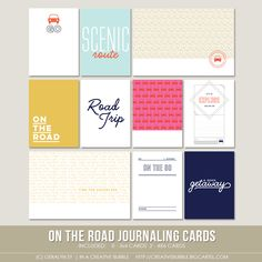 On the Road Journaling Cards (Digital) - for Project Life + scrapbooking.