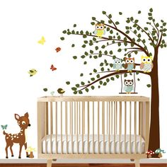 Kinder Wand Aufkleber Wald-Baum-Aufkleber mit Eulen, Vögel, Schmetterlinge, Schaukel, benutzerdefinierten Namen Aufkleber.  Perfekt für ein