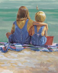 WATERS EDGE Blonde boy and darked haired girl at the beach, 27 x 30 canvas giclee, beach painting, father's day, Lucelle Raad Art Acrylic Painting For Kids, Kid Painting, Blonde Boys, Painting People, Beach Kids, Portraits, Beach Print, Beautiful Paintings, Beach Paintings