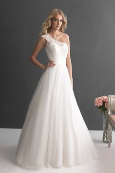 Allure Romance Wedding Dresses   Price Range: $501 - $1,000 Neckline: One-shoulder Sleeve: Sleeveless Train: Chapel Length Silhouette: Ballgown Fabric:  Lace