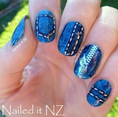 Nailed It NZ: Denim nails - zip decor review for Born Pretty Store