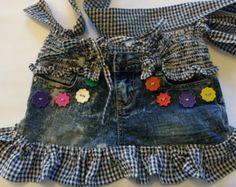 Denim bag, upcycled denim tote, jean-jacket bag, summer bag of denim, two strap…