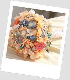 button boquet | Vintage Bridal bouquet peach jewelry button bouquet by Rusticcreek