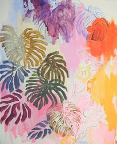 FINEARTSEEN - Philodendron by NADIA NL. A colourful original tropical contemporary painting. available on FineArtSeen - The Home Of Original Art. Enjoy Free Delivery with every order. << Pin For Later >>