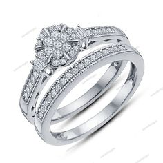 14K White Gold Finish 925 Sterling Silver Round Cut Diamond Bridal Ring Set #aonedesigns