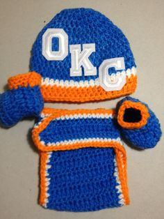 OKC Thunder Basketball Crochet Baby - Would be cute for newborn pics!