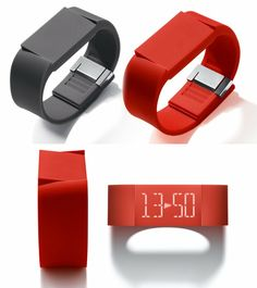 Silent Alarm / Timer Watch. Hidden touch screen. Tap to activate. Swipe to navigate clock, alarm, and timer functions
