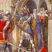 Sir Lancelot defends Guinevere. I am on my 6th Arthurian Legends book in a row and am on my way to becoming an expert. Love the chivalry and the noble deeds of those times...