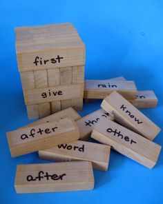 Jenga is a great way to practice sight words. Fun center.