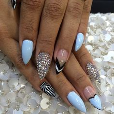 Light Blue Swarovski Stiletto Nails by laqué nail bar @laquenailbar Instagram photos