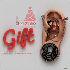 Mesh Ears With Piercing Kit & HUD Christmas 2017 Group Gift by PUMEC