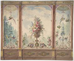 Anonymous, British, 19th century | Design for a Wall with a Flower Vase, Birds, Two Gold Fish and Globe Fountains | The Metropolitan Museum of Art