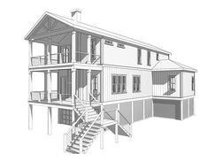 Skiff Retreat - Coastal Home Plans Coastal House Plans, Beach House Plans, Coastal Homes, Elevated House Plans, Narrow Lot House Plans, Beach Condo, Beach House Decor, Narrow House Designs, Fishing Shack
