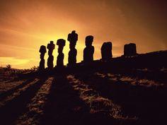 Moai Stone Statues at Sunset, Easter Island
