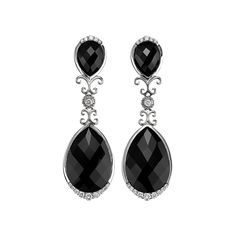 Sale! Sterling silver drop earrings with black onyx and diamonds. The black onyx total 25.80 carats and the diamonds .60 carats. Post…