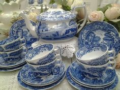 "Spode Blue Italian Tea Set England--pattern used by the Musgroves in the 1995 movie ""Persuasion."