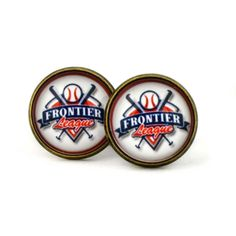 Frontier League  Logo cufflinks. Professional Baseball. Baseball organization. Personalised Silver.Men's jewelry accessories gift. by Mysstic on Etsy