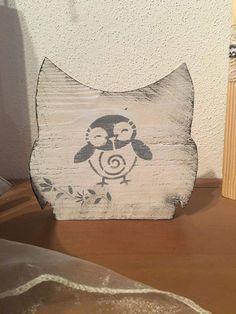 Deko-Objekte - Holz Eule Shabby chic style - ein Designerstück von MichasBastelstube bei DaWanda